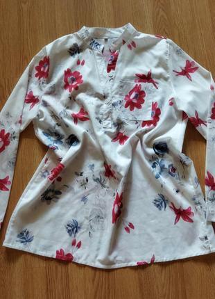 Красивая белая блуза в цветы хлопок 3xl