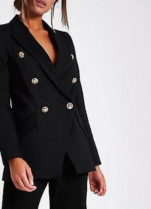 Шикарный двубортный черный блейзер жакет на пуговицах пиджак