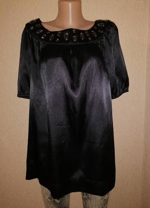 Красивая женская атласная, шелковая черная блузка, кофта 16 размера