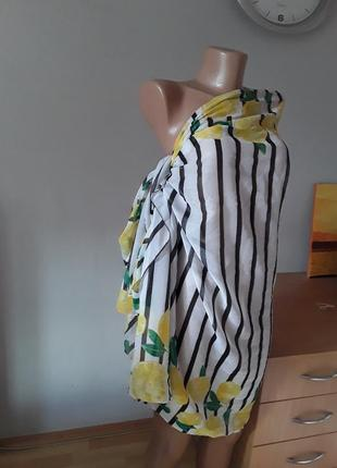 Невесомый палантин/ парео/ шарф в интересном принте