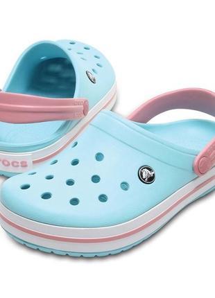 Сабо кроксы crocs crocband ice blue/white