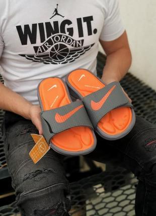 Мужские шлепанцы nike slides оранжево серые