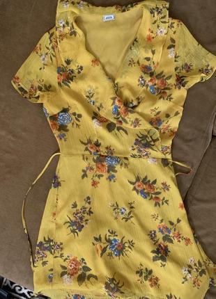 Pimkie желтое платье в цветочек