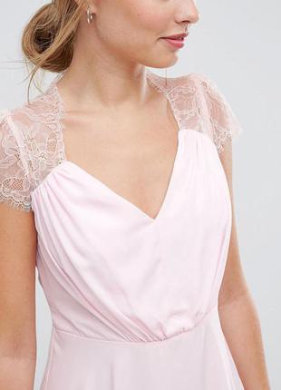 Asos платье цвета пудры ажурные плечи
