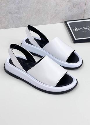 Босоножки натуральная кожа женские белые кожаные сандалии  босоніжки шкіряні жіночі сандалі