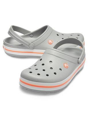 Сабо кроксы crocs crocband light grey/bright coral