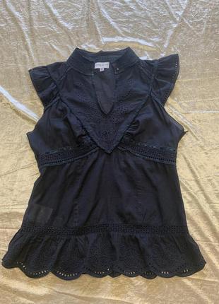 Тонкая романтичная блузка шитье прошва karen millen размер 10{38}1 фото