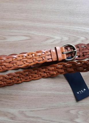 Ремень плетеный  из натуральной кожи vila, дания