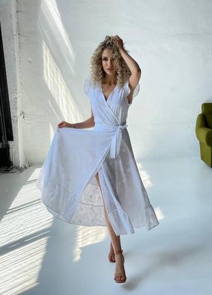 Женское белое хлопковое платье