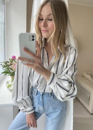 Блузка шелковая в полоску