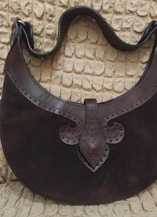 Кожаная и замшевая сумочка в идеальном состоянии