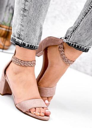 Шикарные женские розовые босоножки туфли на каблуке