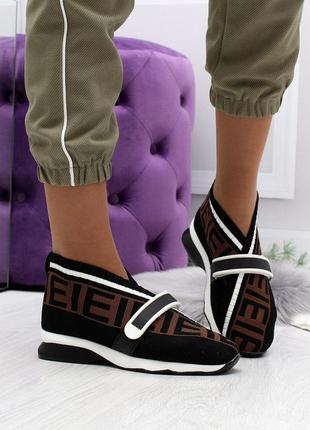 Текстильные женские кроссовки мокасины кеды на липучках