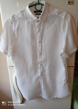 Белая мужская рубашка burton of london,100 % лен