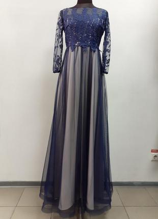 Angel provocation, платье нарядное, вечернее, длинное, в пол, ламу синий