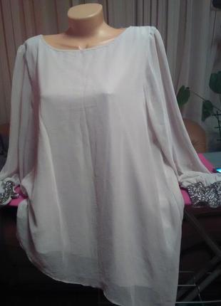 Очень красивая блузка цвета пудри,королевского размера,ассемитричная