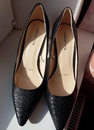 """Черные классические туфли лодочки под """"кожу питона"""" каблук 9 см red herring"""