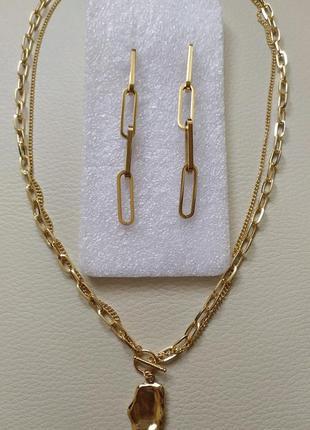 Цепь, ожерелье, колье ,сережки
