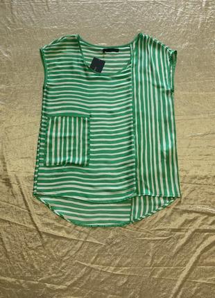 Тонкая атласная блузка майка zara размер м