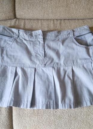 Юбка р. м, юбочка коттоновая, джинсовая, серая, мини-юбка