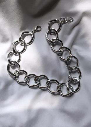 Широкая цепь цепочка чокер на шею серебро