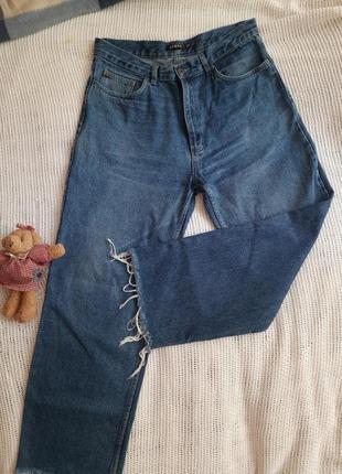 Модные джинсы трубы, высокая талия, низ с бахромой, винтажный деним,большой р-р, поб 56см