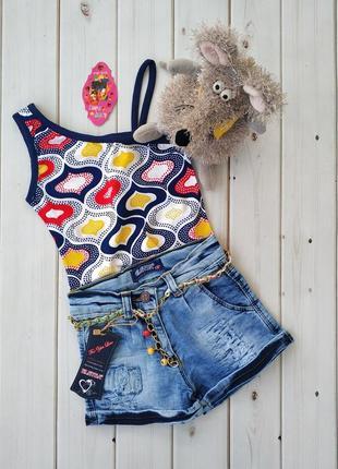 Джинсовые шорты для девочки и майка трикотажная в подарок,турция см.замеры в описании