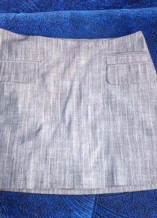 Классическая мини юбка трапеция, р. м-l серого цвета