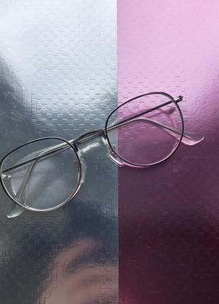 Очки стекляшки прозрачное стекло имиджевые в металической оправе