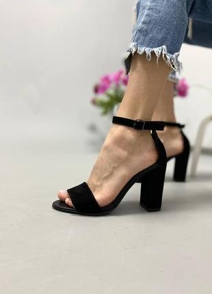 Босоножки шлепанцы натуральная кожа замша черный туфли на высоком каблуке
