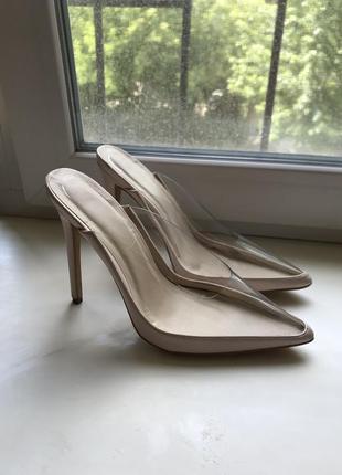 Силиконовые сабо босоножки туфли острый носок