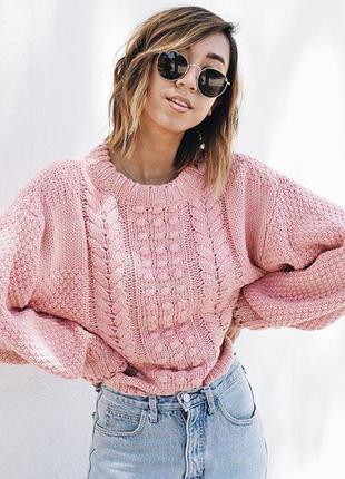 Обьемный свитер с шерстью italy размер s-m