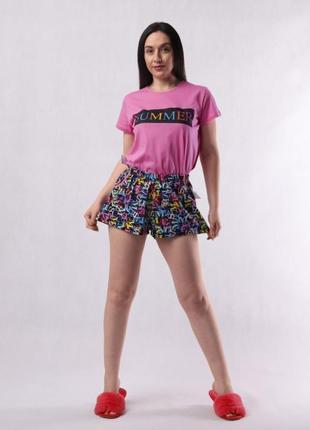 Женская пижама summer футболка + шорты хлопок