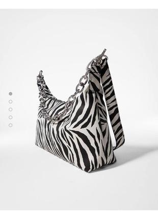 Сумка багет,  тваринний принт зебра,  животный принт зебра,  сумка с цепью,  сумка с фурнитурой,