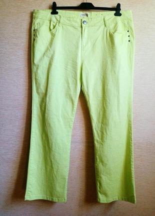 Супер джинсы легкого салатового цвета, большой размер