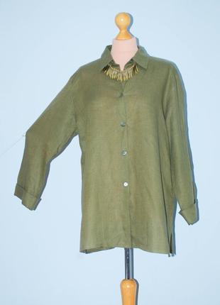 Лен хаки рубашка льняная на пуговицах блуза с рукавом