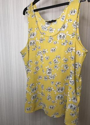Горчичная желтая блуза в цветы