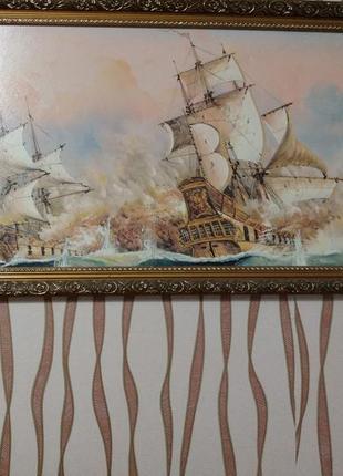 Картина парусник в деревянной раме