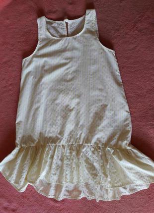 Нежное светлое платье с воланом. шанхай.
