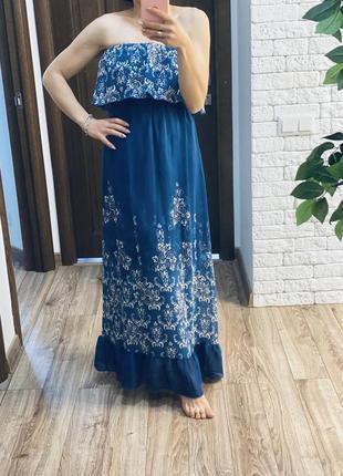 Синее платье в цветочный принт, длинное платье в пол