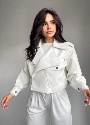 Куртка эко кожа курточка белая косуха