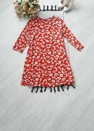 Красное платье в цветы червона сукня xl