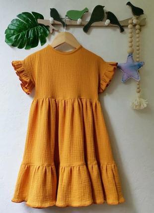 Платье муслин горчица