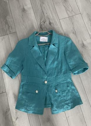 Пиджак льняной бирюзовый