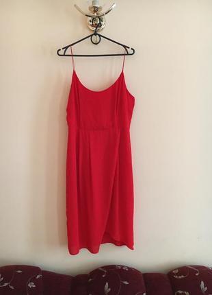 Батал большой размер красное шифоновое летнее легкое платье платьице плаття сукня