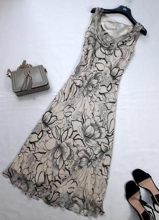 Винтажное шелковое платье миди, по косой, m,l1 фото
