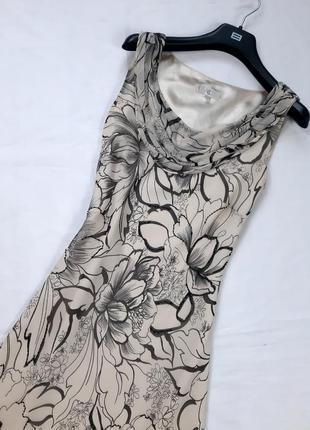 Винтажное шелковое платье миди, по косой, m,l3 фото