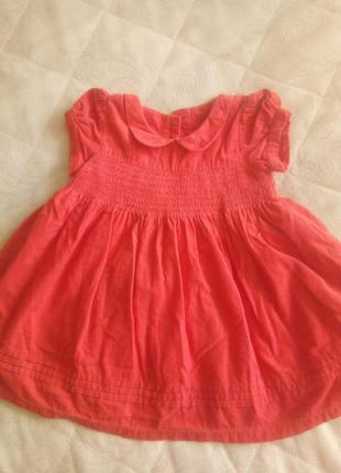 Вельветовое пишное платье  9-12мес