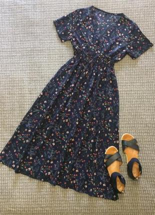 Платье миди в цветочек лёгенькое актуальное короткий рукав