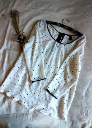 Шифоновая блуза в горошек, блуза пудрового цвета